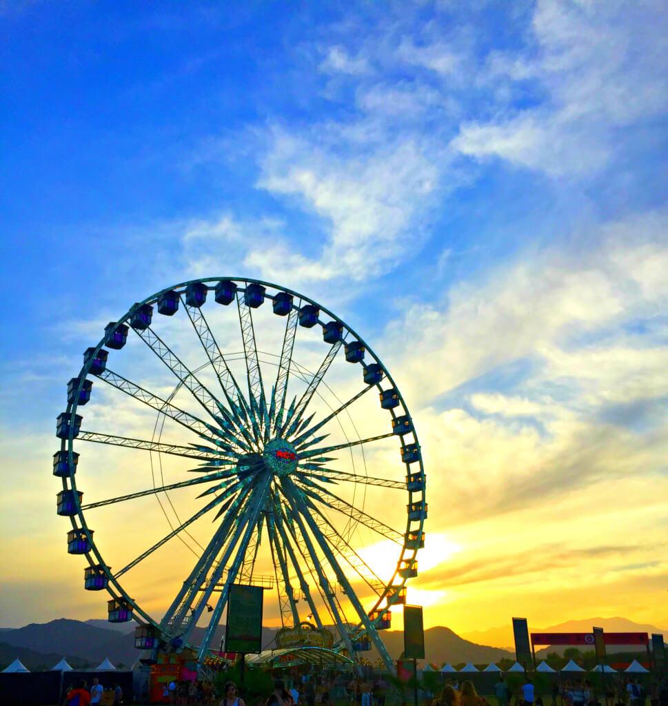 coachella, ferriswheel, sunset